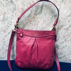 COACH Bright Pink Leather Ashley Hippie Hobo XBody